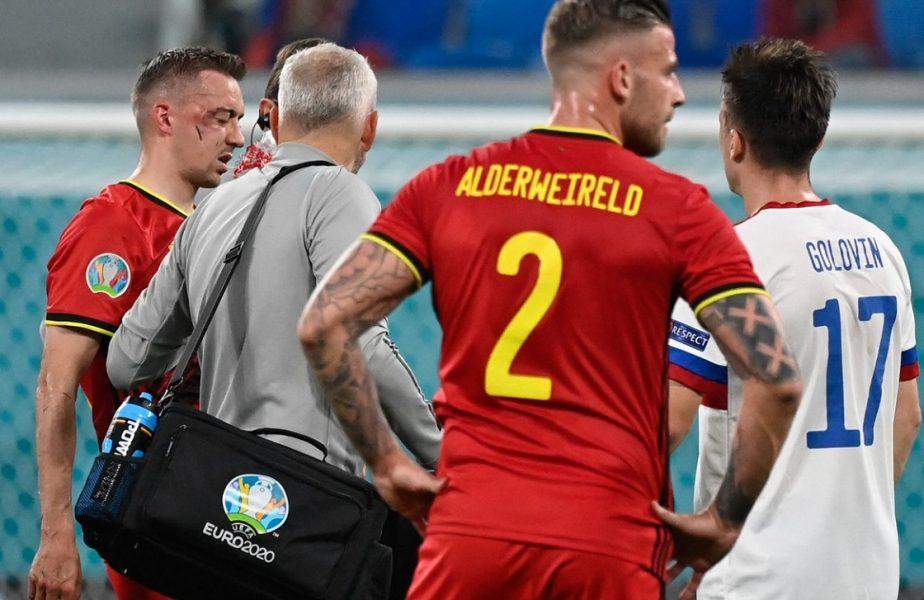 """Accidentare horror la Euro 2020! Unul dintre jucătorii Belgiei părăseşte turneul final. """"Are dublă fractură!"""""""