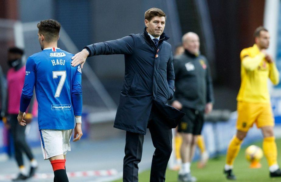 """Rangers s-a făcut de râs cu o echipă de liga a patra! Steven Gerrard i-a desființat pe Ianis Hagi și colegii din atac: """"Nu tolerez așa ceva!"""""""