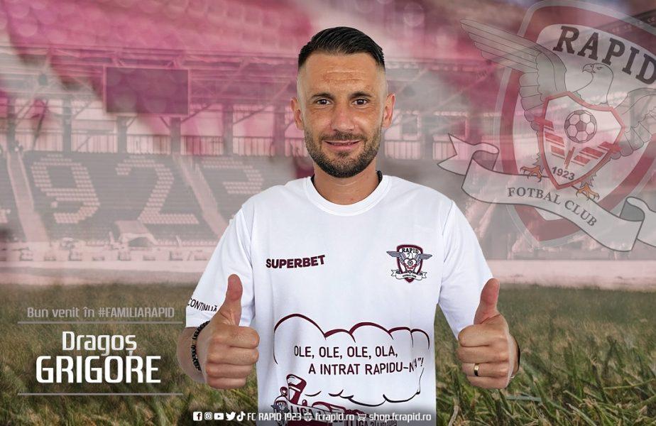 """Dragoş Grigore a semnat cu Rapid! Primele imagini cu fostul căpitan al lui Dinamo după ce a semnat contractul. """"Este un club cu nişte fani superbi"""""""