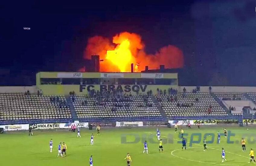 Explozia, surprinsă în timpul meciului