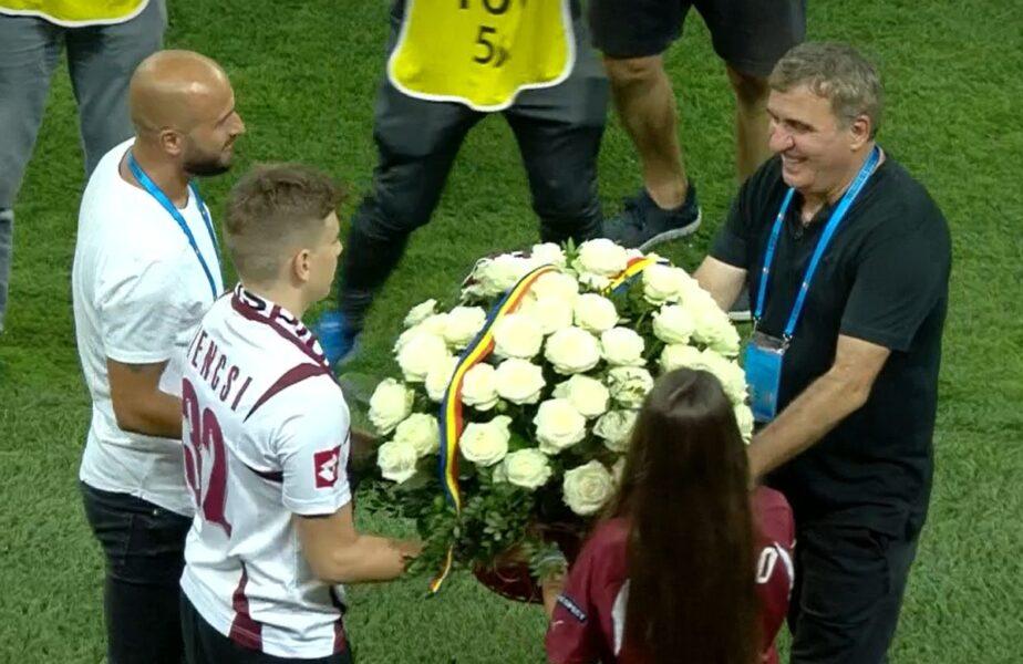 Gică Hagi, momente emoţionante pe Arena Naţională! Rapid l-a primit cu flori şi cadouri. Cum le-a mulţumit fanilor giuleşteni