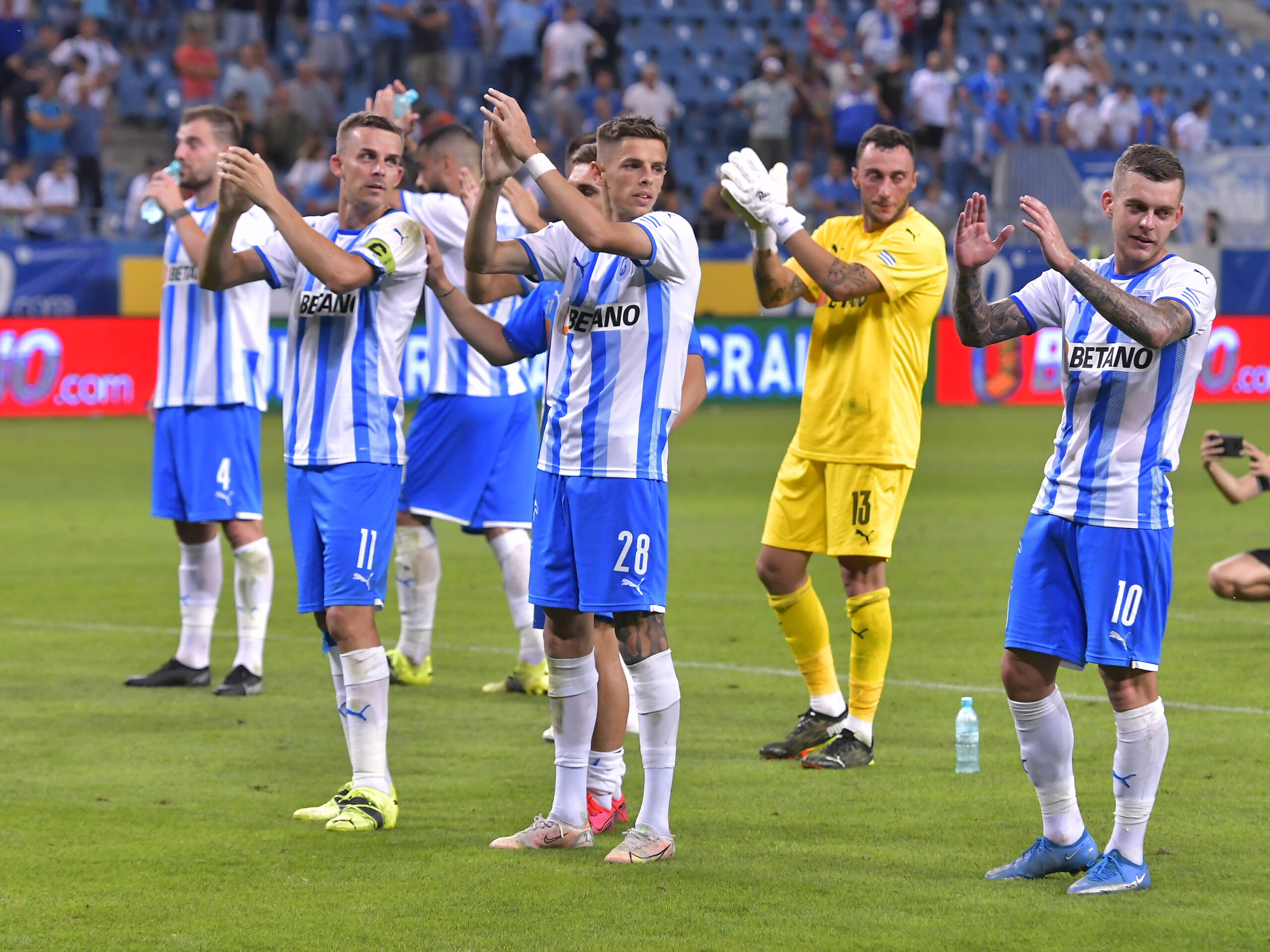 Universitatea Craiova, jucătorii salută galeria
