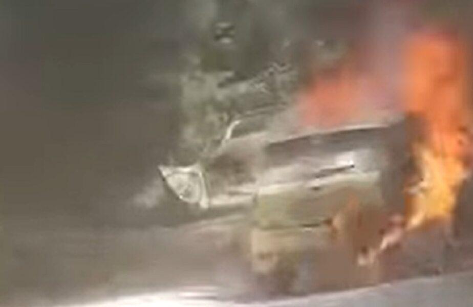 O maşină a luat foc în mers la Raliul Sibiului
