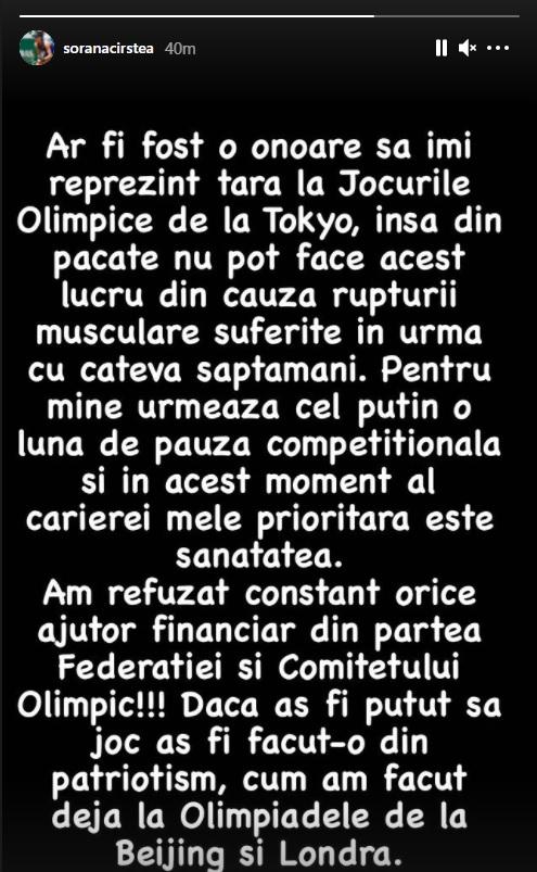 Sorana Cîrstea nu poate participa la Jocurile Olimpice
