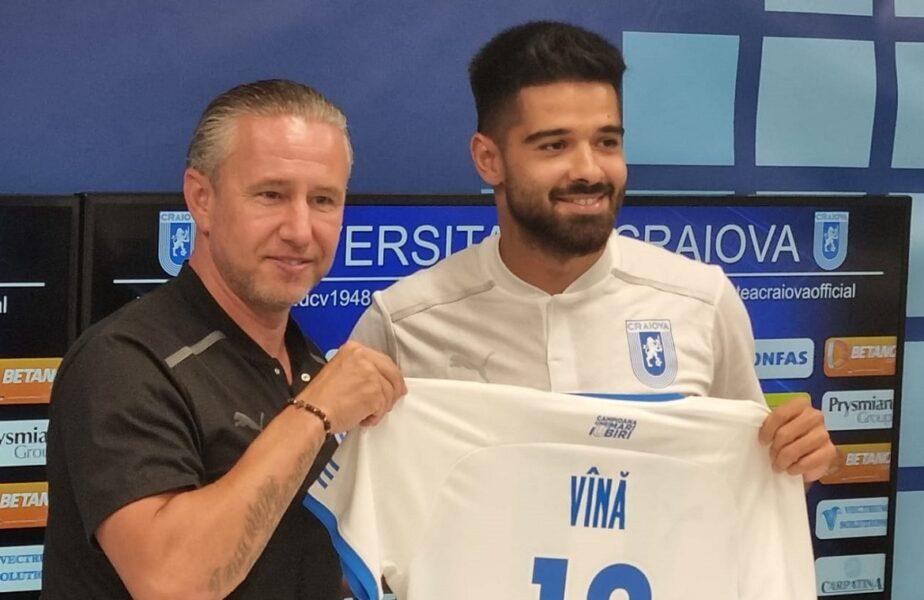 Laurenţiu Reghecampf şi Ionuţ Vînă, conferinţă de presă Universitatea Craiova, prezentarea oficială a fotbalistului