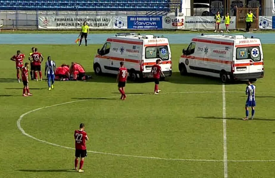 Momente dramatice în Liga a 2-a! Două ambulanţe pe teren la Poli Iaşi – Universitatea Cluj