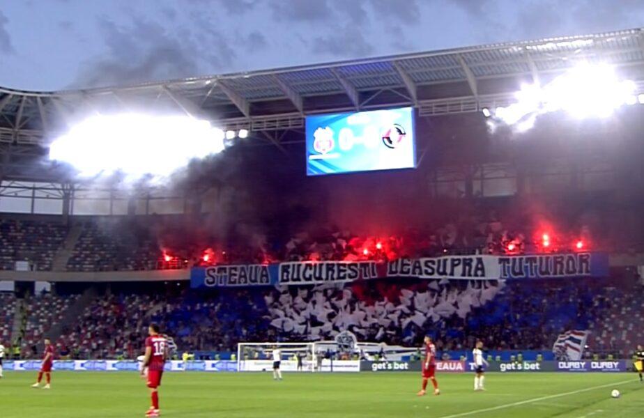 """Mesajul afișat de ultrașii lui CSA Steaua la primul meci oficial în Ghencea. Steliștii au """"incendiat"""" stadionul cu torțe și fumigene"""