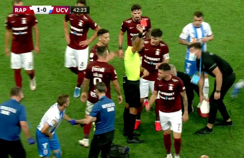 Rapid – Universitatea Craiova | Nervii au cedat pe Arena Naţională. Claudiu Belu a fost eliminat! Jucătorii au fost la un pas de bătaie generală
