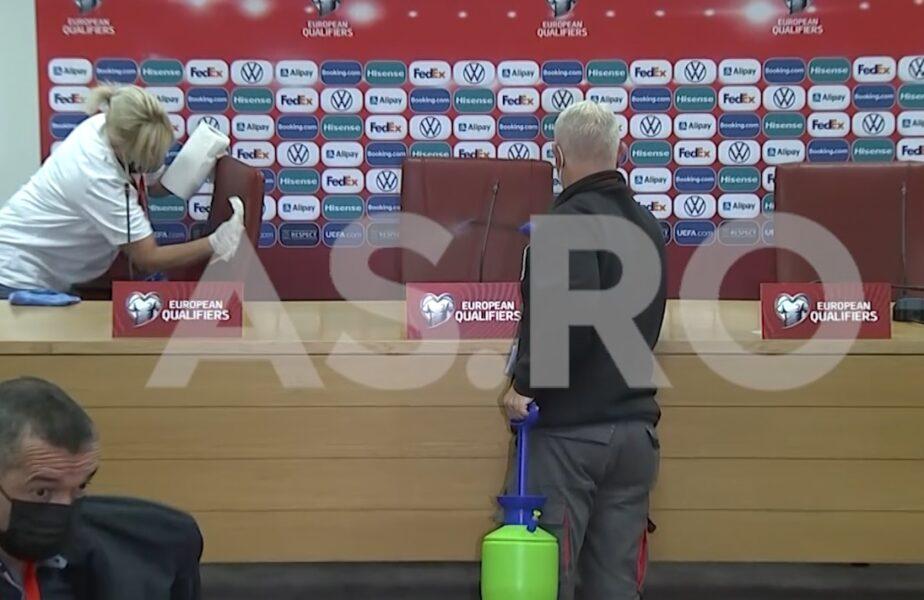Macedonia de Nord – România 0-0   Momente incredibile la conferinţa de presă. Scaunul lui Mirel Rădoi, dezinfectat pe loc. Ce s-a întâmplat când a venit selecţionerul gazdelor