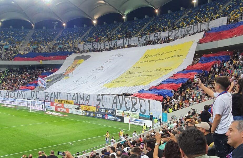 FCSB – Dinamo | Atmosferă superbă la Derby de România! Ultraşii FCSB-ului, săgeţi către rivali. Ce coregrafie au afişat pe Arena Naţională
