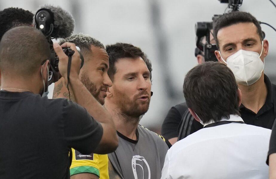 """Cum au fost surprinşi Messi, Neymar şi Dani Alves în haosul din meciul Brazilia – Argentina. Ce s-a întâmplat cu jucătorii """"Pumelor"""""""