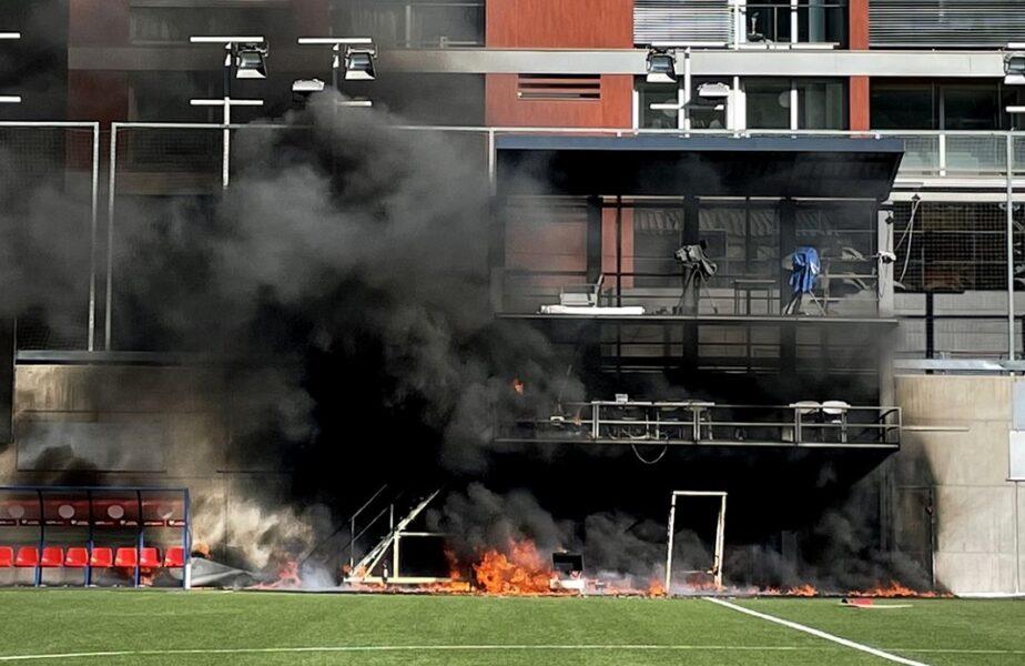 Panică înainte de Andorra – Anglia! Stadionul gazdelor a fost cuprins de flăcări, în direct la TV. Imagini șocante din interiorul arenei
